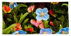 New World And Old World Exotic Flowers Hand Towel