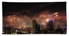 New Year Fireworks Bath Towel