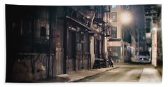 New York City Alley At Night Hand Towel