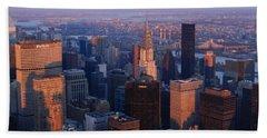 New York City At Dusk Hand Towel