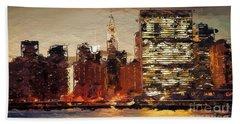 New York City Skyline Abstract 2 Bath Towel by Anthony Fishburne