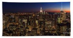New York City Skyline At Dusk Hand Towel