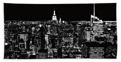 New York City Skyline At Night Bath Towel