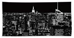New York City Skyline At Night Hand Towel