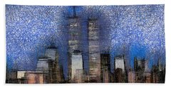 New York City Blue And White Skyline Hand Towel by Georgi Dimitrov