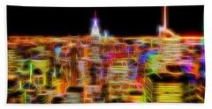 New York City Skyline Glowing Lights Bath Towel