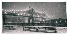 New York City - Snow At Night - Sutton Place Hand Towel