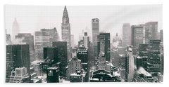 New York City - Snow-covered Skyline Hand Towel