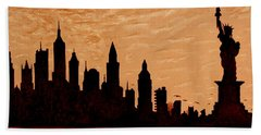 New York City Sunset Silhouette Bath Towel by Georgeta  Blanaru