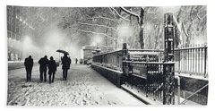 New York City - Winter - Snow At Night Hand Towel