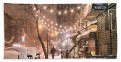 New York City - Winter Snow Scene - East Village Hand Towel