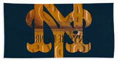 New York Mets Baseball Vintage Logo License Plate Art Hand Towel