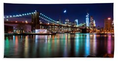 Bath Towel featuring the photograph New York Skyline And Brooklyn Bridge With Crescent Moon Rising by Mitchell R Grosky
