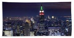New York Skyline Night Color Hand Towel