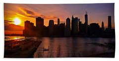 Hand Towel featuring the photograph New York Skyline Sunset -- From Brooklyn Heights Promenade by Mitchell R Grosky