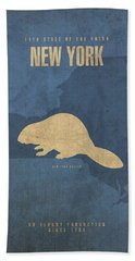 New York State Facts Minimalist Movie Poster Art  Bath Towel