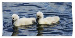 Hand Towel featuring the photograph Newborn Mute Swans by Alyce Taylor