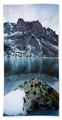 Frozen Mountain Lake Bath Towel
