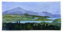 Hand Towel featuring the painting Newport From Brownington Lookout by Donna Walsh
