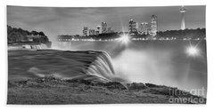 Niagara Falls Black And White Starbursts Hand Towel by Adam Jewell