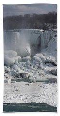 Niagara Falls Ice Buildup - American Falls New York State U S A Bath Towel