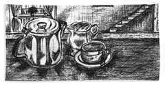 Bath Towel featuring the drawing Nice Cup Of Tea by Teresa White