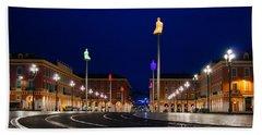 Hand Towel featuring the photograph Nice France - Place Massena Blue Hour  by Georgia Mizuleva