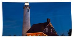Night At The Lighthouse Bath Towel