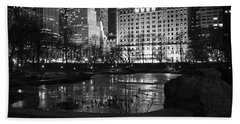 Night Central Park Lake H Bath Towel