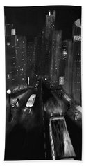 Night City Scape Hand Towel by Dick Bourgault