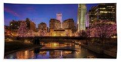Night Cityscape - Omaha - Nebraska Bath Towel by Nikolyn McDonald