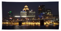 Bath Towel featuring the photograph Night Descends Over Louisville City by Deborah Klubertanz