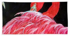 Night Flamingo Bath Towel