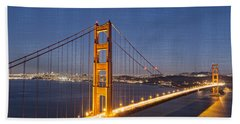 Night Image Golden Gate Bridge Bath Towel by James Hammond