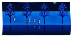 Night Walk Of The Penguins Bath Towel