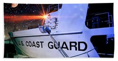 Ocean Bath Towel featuring the photograph Night Watch Us Coast Guard by Aaron Berg