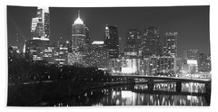 Hand Towel featuring the photograph Nighttime In Philadelphia by Alice Gipson