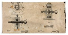 Nikola Tesla's Alternating Current Generator Patent 1891 Hand Towel by Paulette B Wright