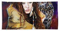 Nine Stars Woman / Owl Medicine Bath Towel by J W Baker