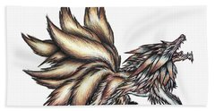 Bath Towel featuring the painting Nine Tails Wolf Demon by Shawn Dall