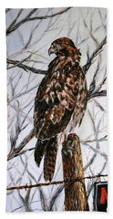 Hand Towel featuring the painting No Hunting by Craig T Burgwardt