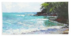 Bath Towel featuring the painting Noosa Heads Main Beach Queensland Australia by Chris Hobel
