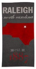 North Carolina State University Wolfpack Raleigh College Town State Map Poster Series No 077 Hand Towel