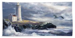 North Head Lighthouse At The Eve Of A Storm Bath Towel