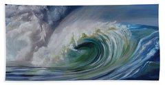 Bath Towel featuring the painting North Shore Curl by Donna Tuten
