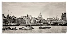 North Side Of The Thames Bw Bath Towel