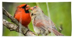 Northern Cardinal Male And Female Hand Towel