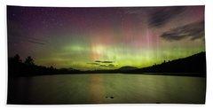 Northern Lights Over Ricker Pond Hand Towel