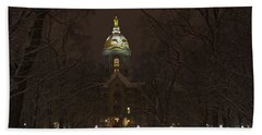 Notre Dame Golden Dome Snow Bath Towel
