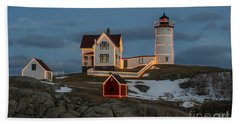 Nubble Lighthouse At Christmas Hand Towel